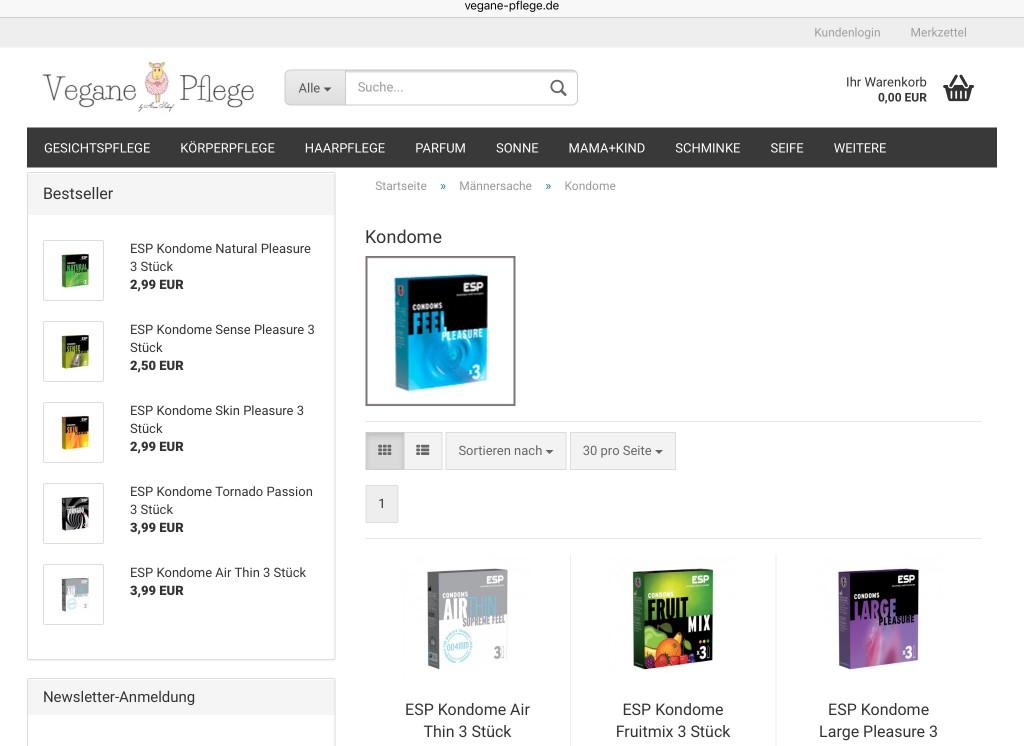 Auch in Internetshops zu haben: vegane Körperpflege-Produkte und sogar Kondome. Bildschirmfoto: Michael Kunze